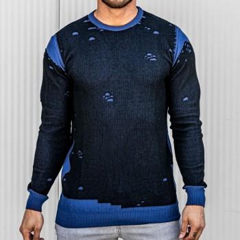 Състарен пуловер в черно и синьо 10388