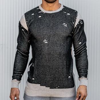 Състарен пуловер в черно и бежаво 10389