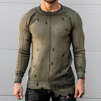 Състарена блуза в хаки 10393