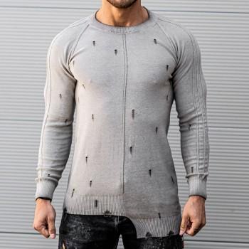 Състарена блуза в сиво 10394