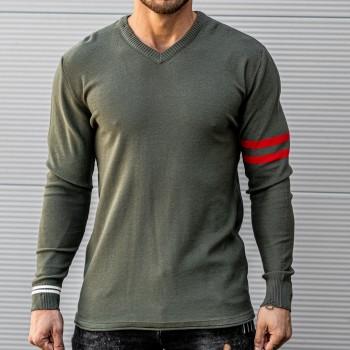 Ефектно прокъсана блуза в цвят хаки 10398