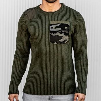 Пуловер с камуфлажен джоб в хаки 10410