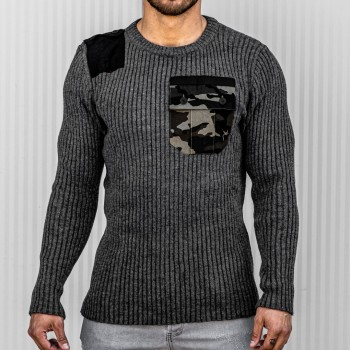 Пуловер с камуфлажен джоб в сиво 10411