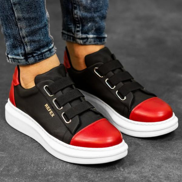 Черно червени обувки с ластици 2535