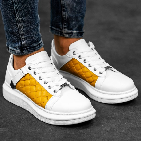 Обувки бели с жълто в страни 2542