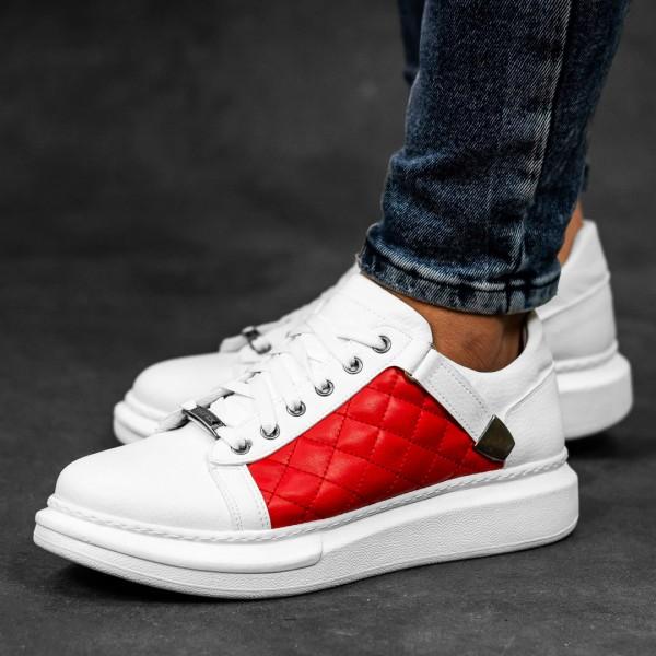 Обувки бели с червено в страни 2545