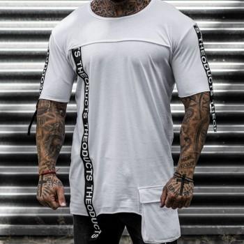 Тениска с ленти в бяло 33376