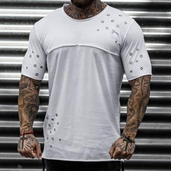 Тениска с капси в бяло 33378