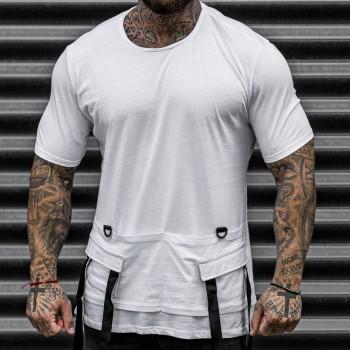 Тениска с джобове в бяло 33415