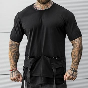Тениска с джобове в черно 33416