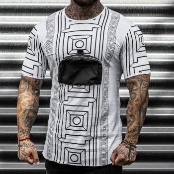 Тениска с джоб в бяло 33423