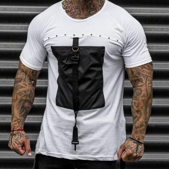 Тениска с джоб в бяло 33428