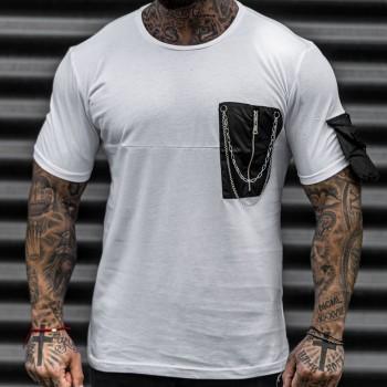 Тениска с джоб в бяло 33438