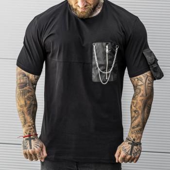 Тениска с джоб в черно 33439