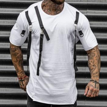 Тениска с тиранти в бяло 33454