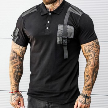 Тениска с джоб и пагон в черно 33484