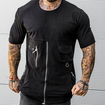 Тениска с цип в черно 33495