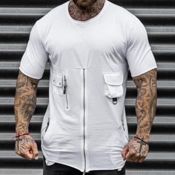 Тениска с цип в бяло 33497