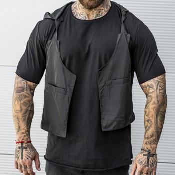 Тениска с елек и качулка в черно 33519