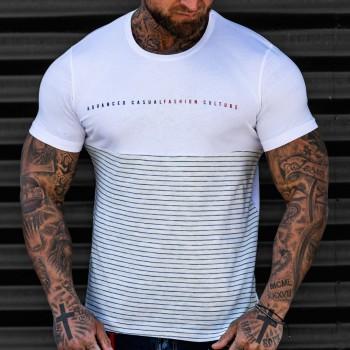 Бяла тениска Advanced синьо райе 3747