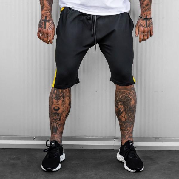 Къси панталони в черно с жълт кант 6092
