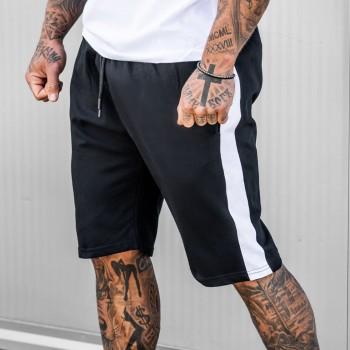 Къси панталони в черно с бял кант 6093