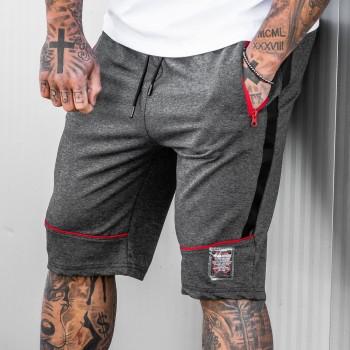 Къси панталони в тъмно сиво с червени елементи 6111