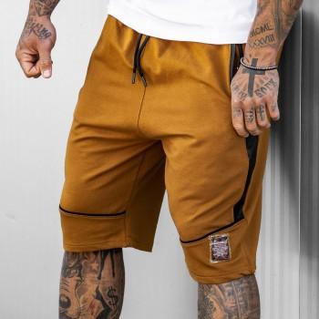 Къси панталони в охра с черни елементи 6112