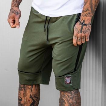 Къси панталони в тъмно зелено с черни елементи 6113