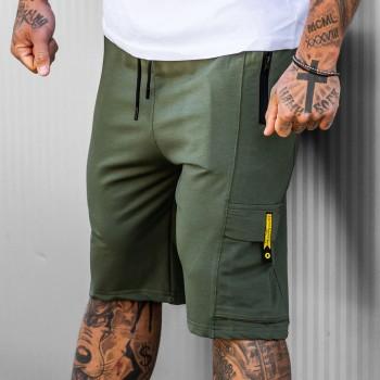 Къси панталони със страничен джоб в цвят хаки 6130