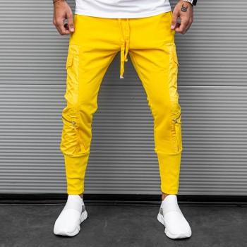 Жълто долнище с джобове 7738
