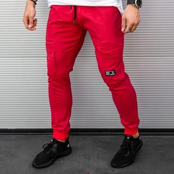 Долнище с джобове на коленете в червено 7861