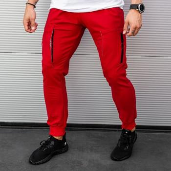 Долнище с джобове на коленете в червено 7872