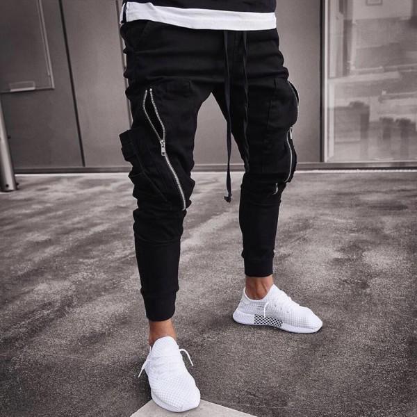 Черен панталон със странични джобове 0037