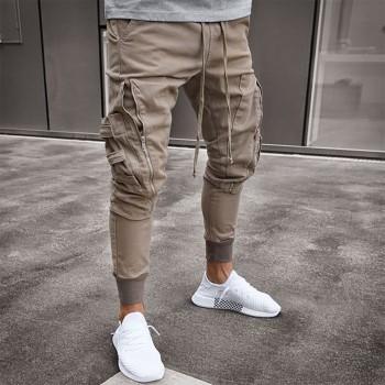 Бежов панталон със странични джобове 0038