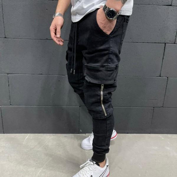 Черни дънки със странични джобове 0096