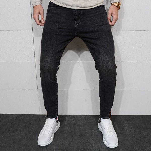 Тъмно сиви дънки с кант 0402