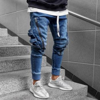 Сини дънки със странични джобове 0417