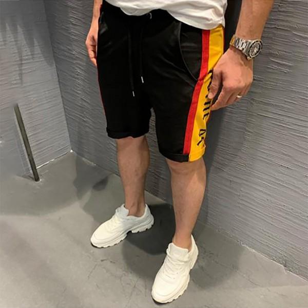 Черни къси панталони с жълт кант код 6070