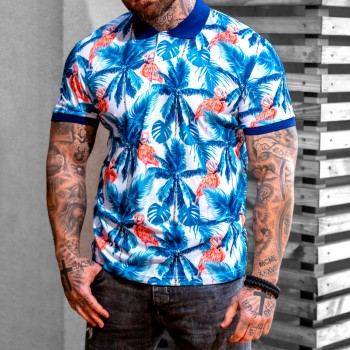 Бяло-Синя тениска с Фламинго с код 3148